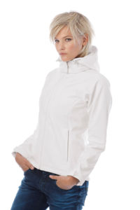 Hooded Lady | Softshell publicitaire pour femme Blanc 2